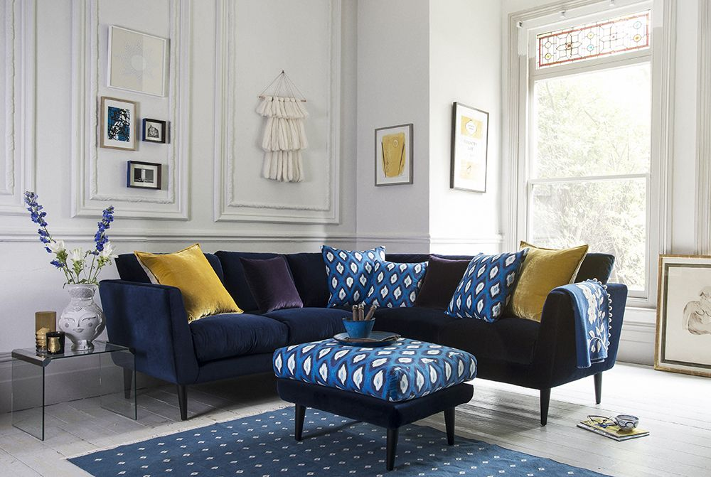 a touch of ikat  living room sofa blue corner sofas