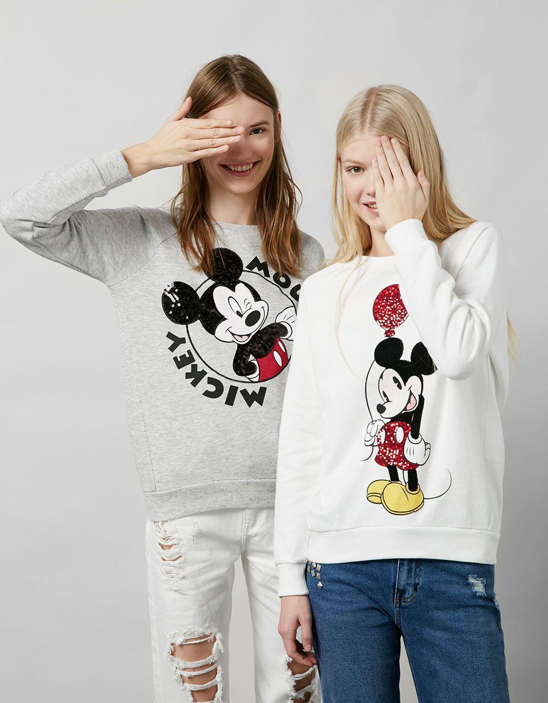 202371481b BSK Mickey embroidered sequinned sweatshirt - Sweatshirts - Bershka United  Kingdom