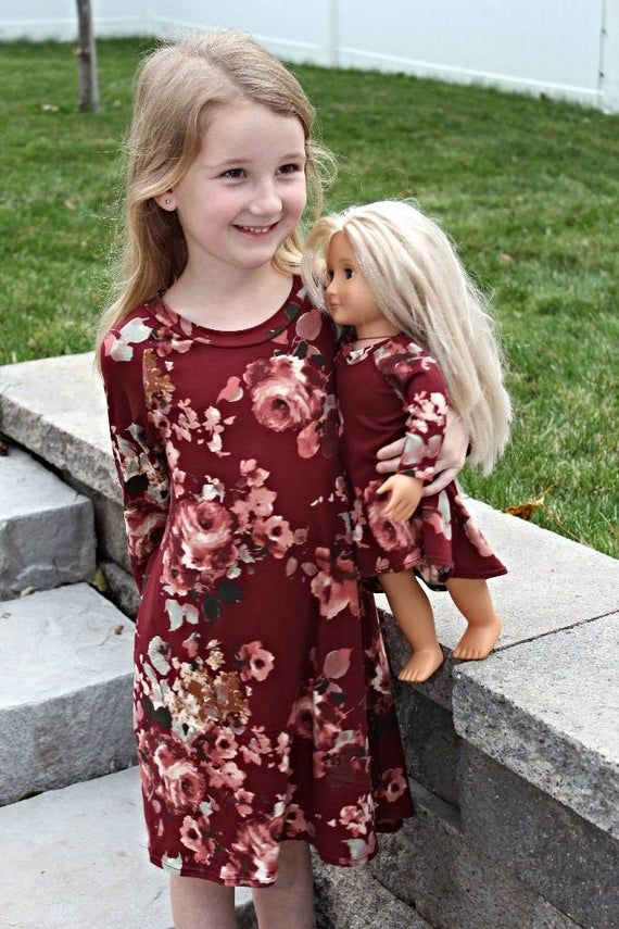 Matching Girl and Doll Nina Dresses.18 inch Doll Clothes.15 Inch Doll Clothes. Will fit American Girl Dolls and Bitty Baby Dolls #18inchdollsandclothes