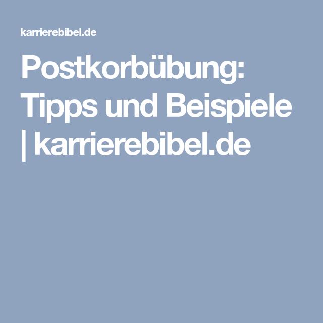 postkorbbung tipps und beispiele karrierebibelde - Postkorbubung Beispiel