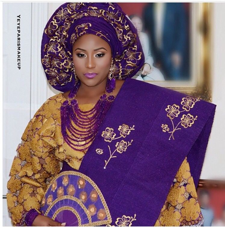 Traditional Nigerian Wedding Gowns: Purple And Gold Traditional Wedding.