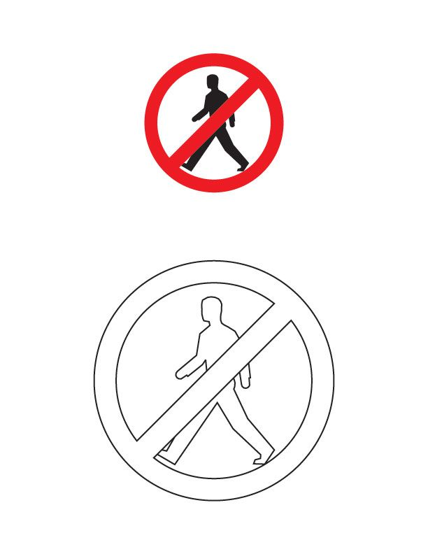 Pedestrians prohibited traffic sign coloring page  Transportation