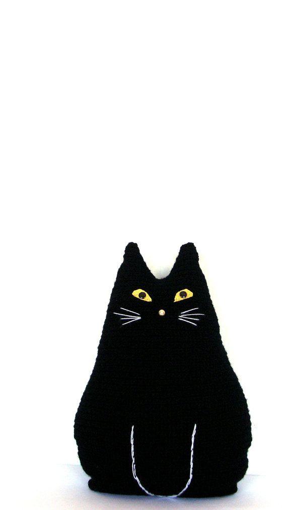 Black cat toy pillow Halloween decor crochet cat stuffed pillow ...