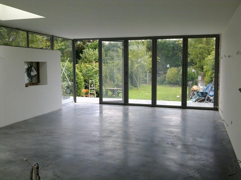 Natural power float concrete floors house oxted - Concrete floors in house ...