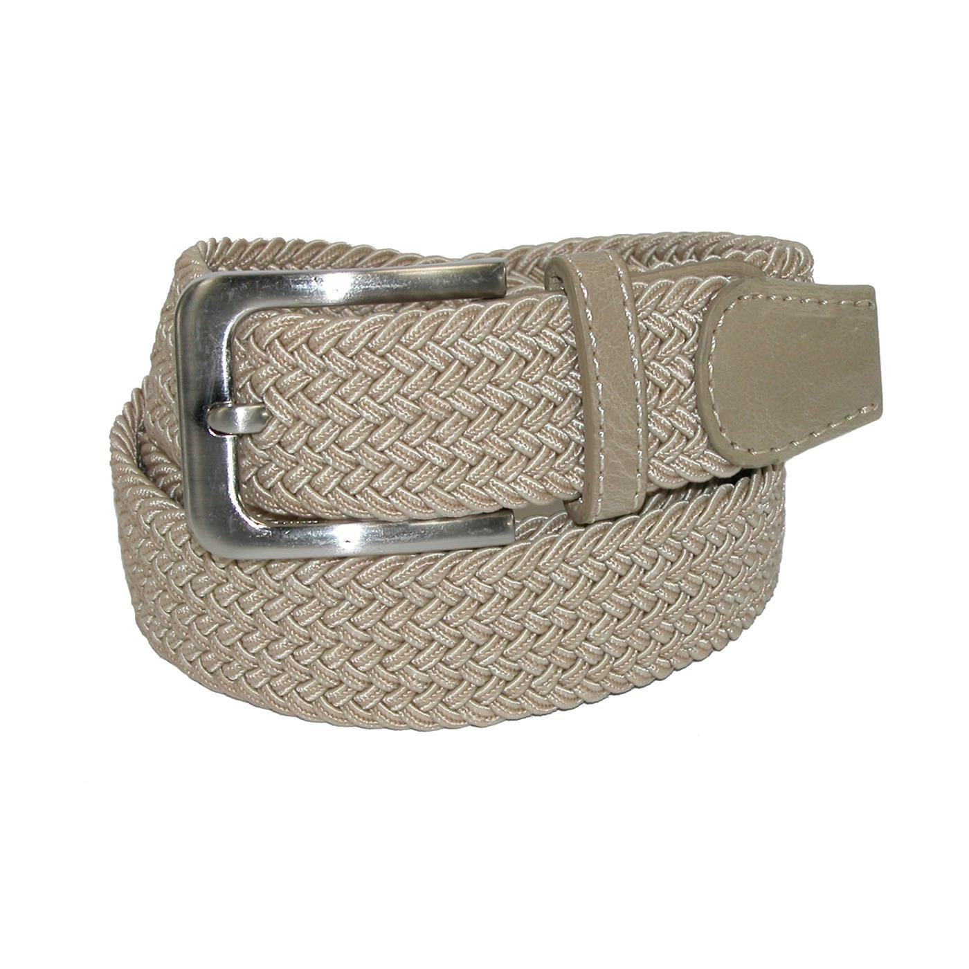 Fully adjustable, this belt provides both comfort and style. The elastic stretch allows for a comfortable fit that moves with you. An antiqued nickel buckle and leather tabs create a sharp look that is great for any outfit. A classic woven belt.