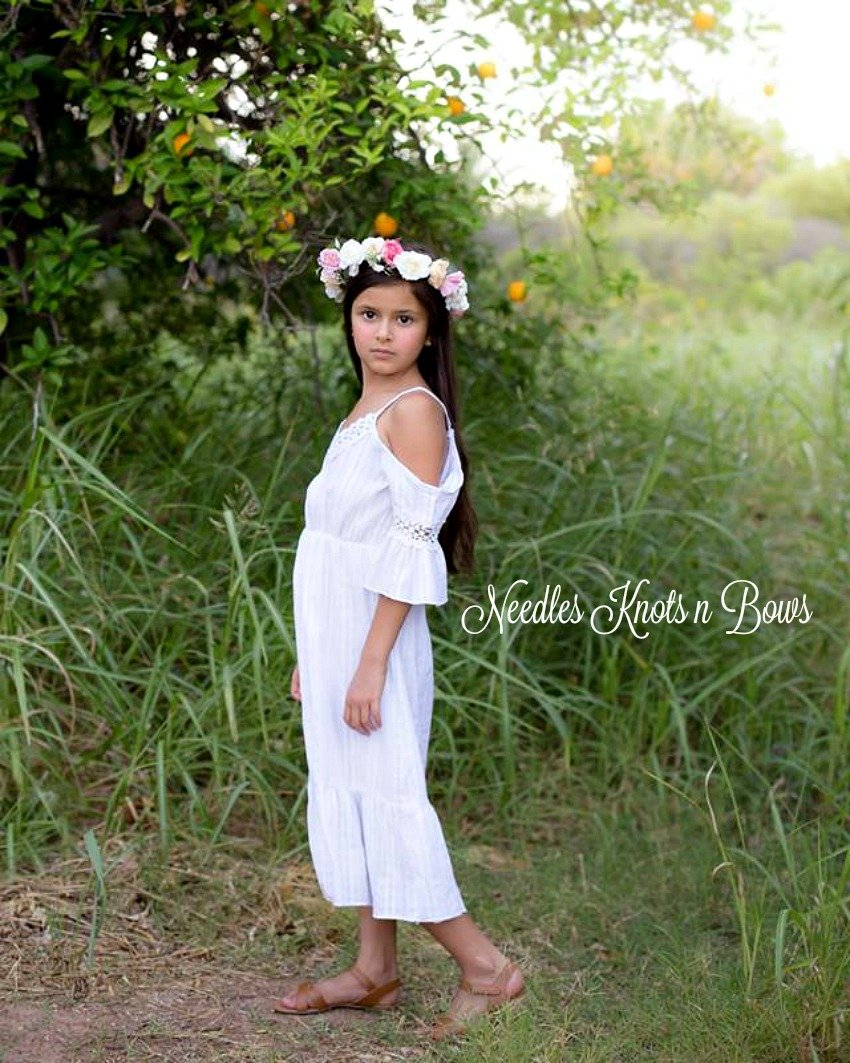 b8a034e148bc Girls White Over the Shoulder Bohemian Style Dress, Toddlers, Girls Boho  Summer Dress, Beach Dress, Wedding, Flower Girl Dress, Sizes 1, 2, 3, 4, 5,  6, 8, ...