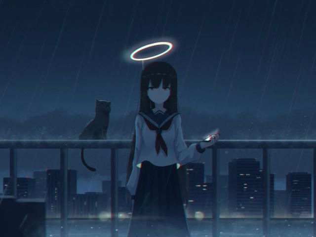4K Girl in the Rain with Cat Wallpaper, HD Anime 4K Wallpapers, Images, Photos and Background - Wallpapers Den