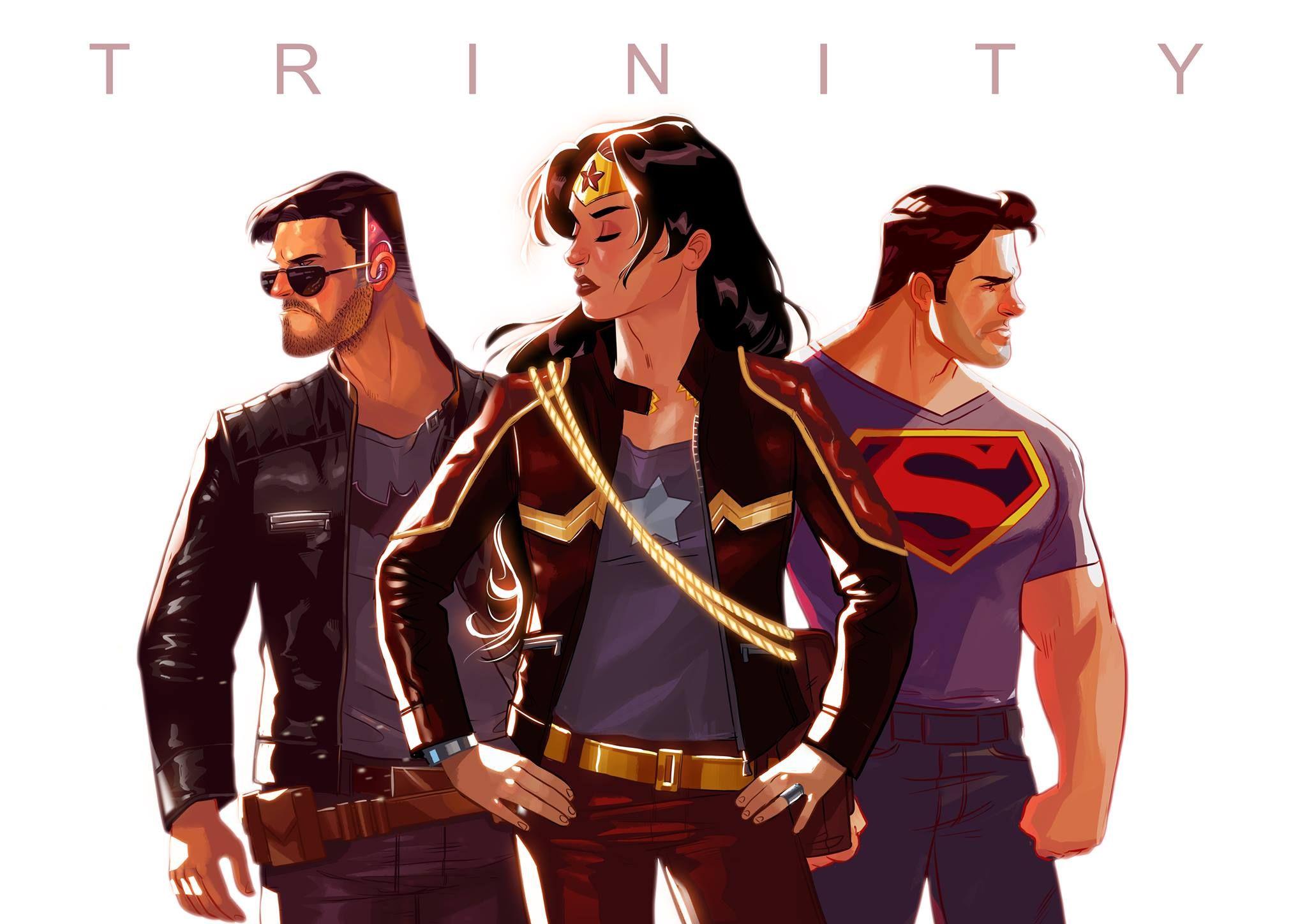 Trinity (Batman, Wonder Woman, Superman), by Stephen Byrne. Cool urban look for this heroes.