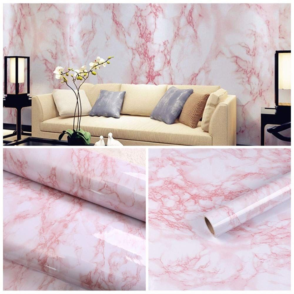 Amazon Com 17 7 X78 7 Self Adhesive White Pink Marble Contact Paper Removable Wall Contact Paper Decor Deca Wall Vinyl Decor Wall Shelf Decor Textured Panels