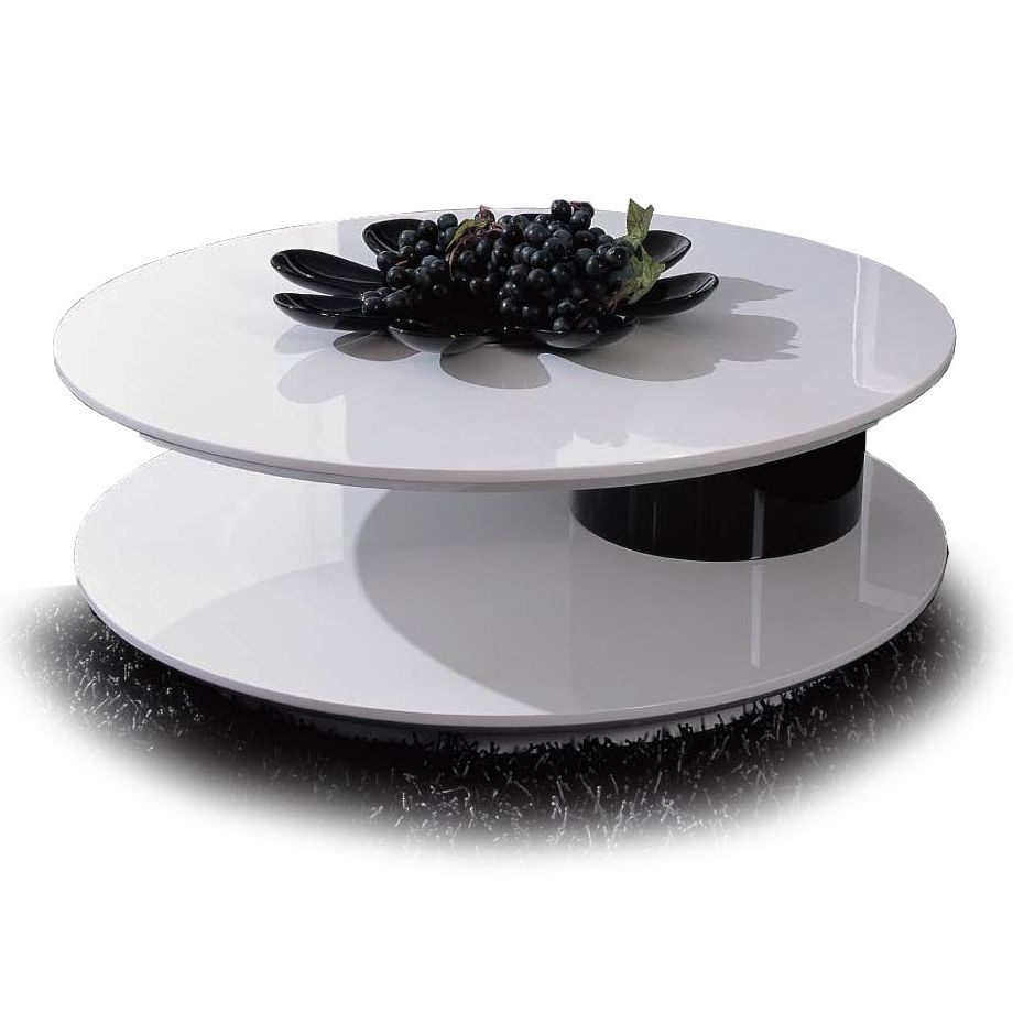 Modern Lacquered White And Black Round Swivel Top Coffee Table Kazo