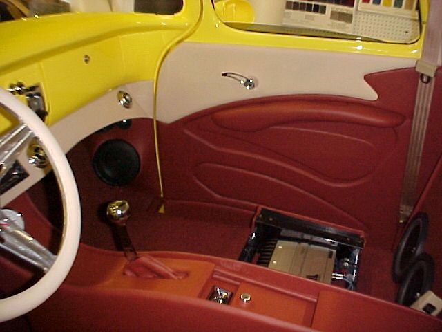 1959 Chevrolet Turck Yellow With Flames Truck Interior Chevy Trucks Automotive Upholstery
