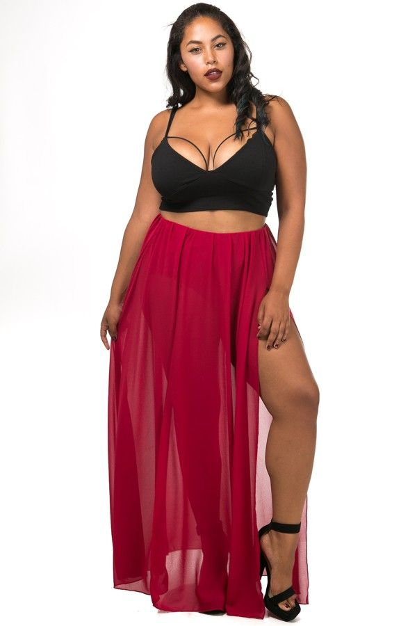 f5dc87b9cb Double slit maxi skirt in plus size | Plus Size | Plus size, Skirts ...