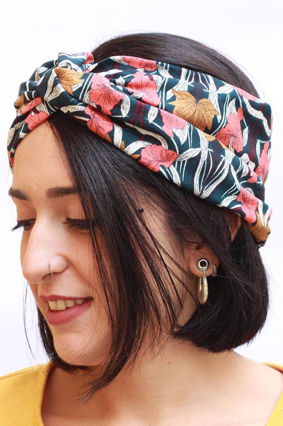 Iyou con fiore per donne e ragazze. in cotone Fascia per capelli in stile boho elastica