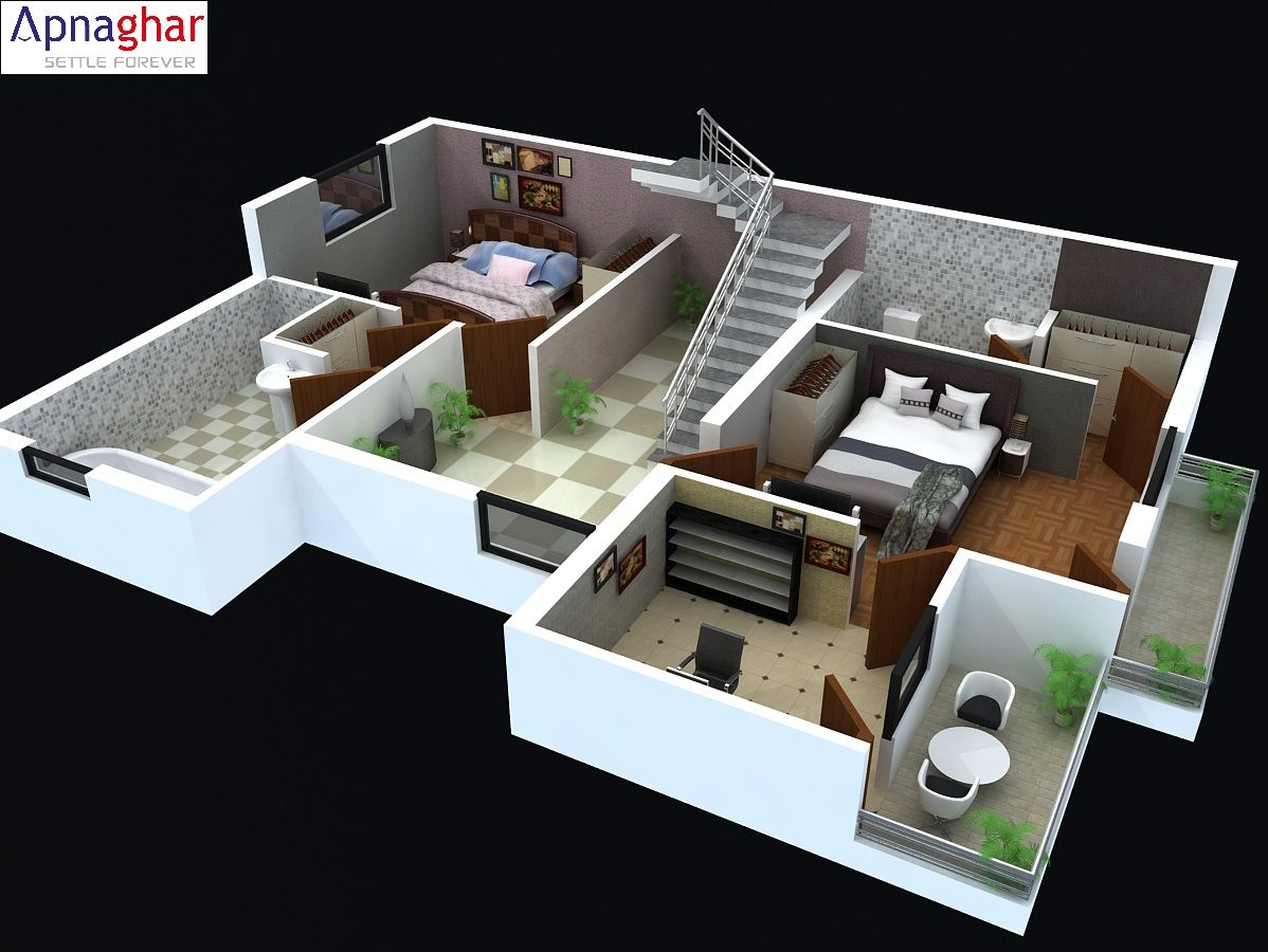 Cut Model Of A 3d Floor Plan Find Related Architectural