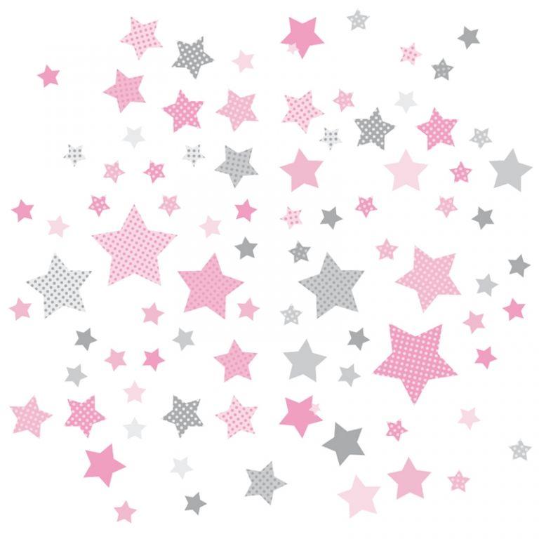 Popular Kinderzimmer Wandsticker Sterne rosa grau teilig