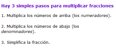 Pasos para multiplicar fracciones