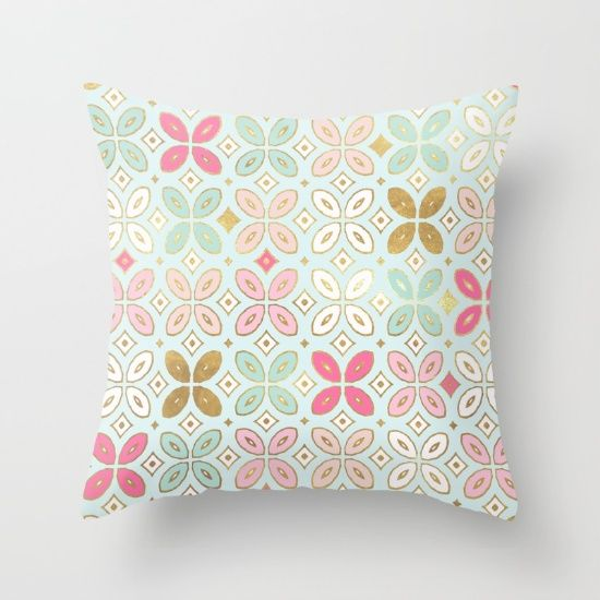 Moroccan Tile Throw Pillow By Monika Strigel Society6 Throw Pillows Mint Throw Pillows Pillows
