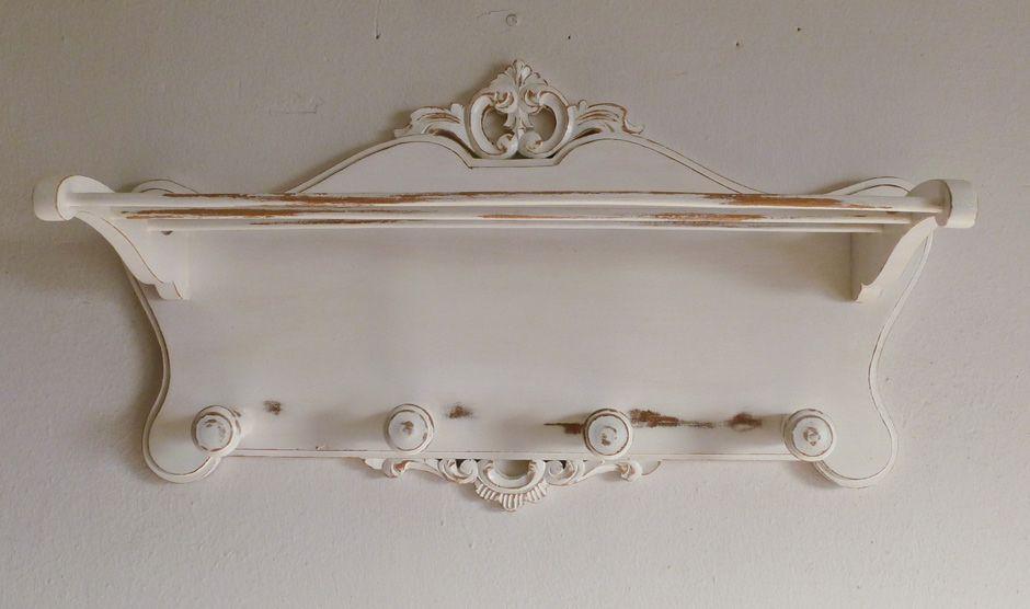 Perchero de pared vintage blanco envejecido realizado por - Percheros pared vintage ...