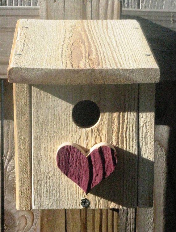 Share the Love - All Cedar Birdhouse with Heart Wren by gardenfinds, $27.50