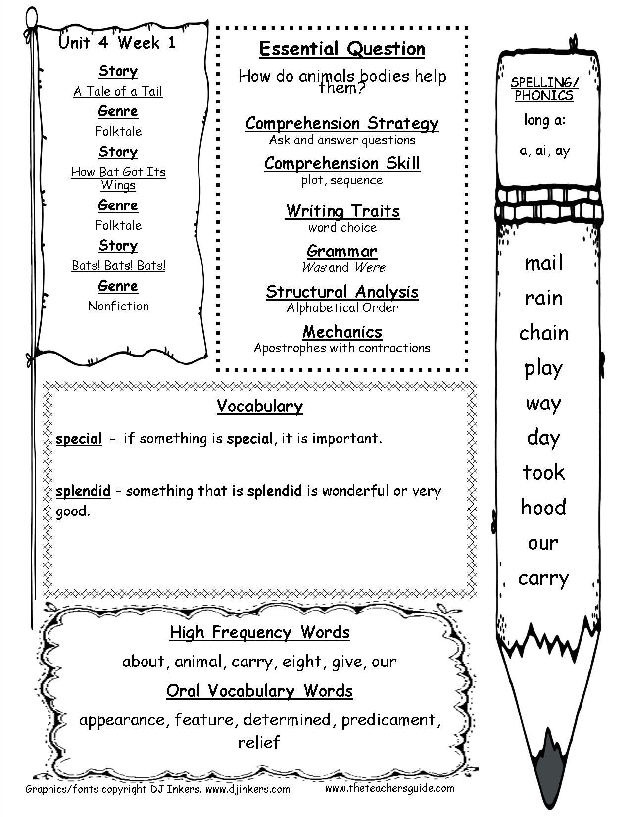 First Grade Wonders Unit Four Week One Printout Weekly