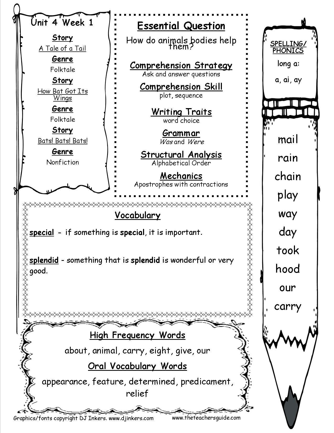 First Grade Wonders Unit Four Week One Printout Weekly