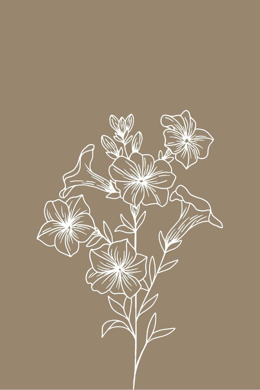 Floral minimalist home decor digital print for wall