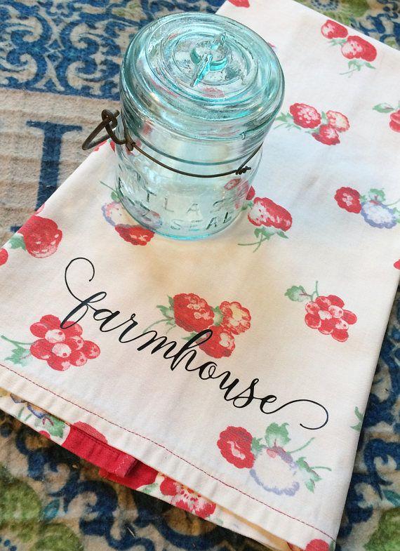 Wonderful Vintage Farmhouse Wilendur Strawberry Tablecloth Kitchen Dish Upcycled Flour  Sack