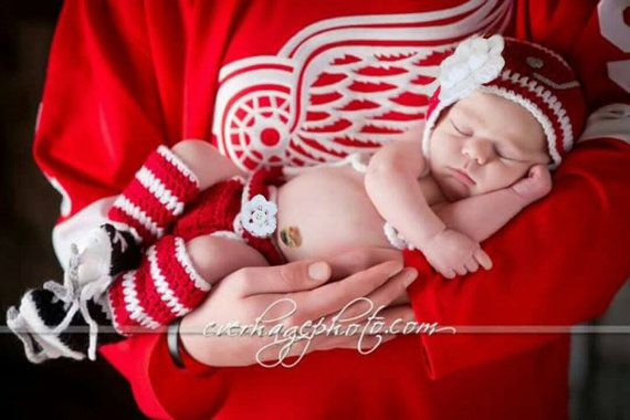 Photo of Items similar to BABY GIRL HOCKEY Crochet Hockey Baby Girl Clothes, Knit Baby Hockey Skates, Knit Hockey Skates, Newborn Hockey Hat, Red White Hockey Girls on Etsy