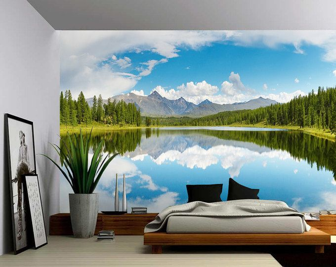 Canada Banff Rocky Mountain Lake Large Wall Mural Etsy In 2021 Large Wall Murals Wall Murals Wall Mural Decals