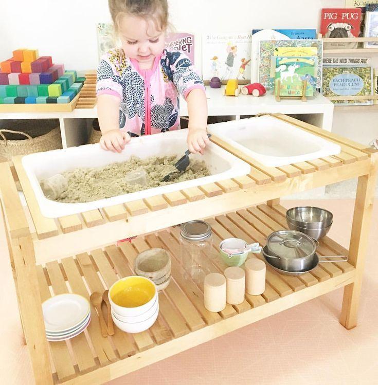 Sand Und Wassertisch Aus Ikea Bank Und Wannen In 2020 Ikea Bench Sand And Water Table Sand Table