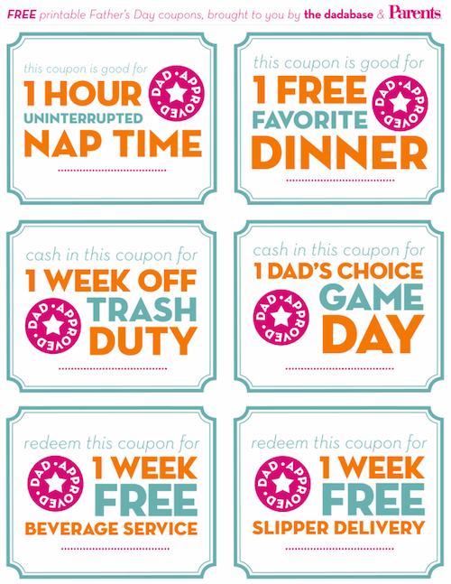 Free Printable Father's Day Coupon Gift Idea | Father's Day ...