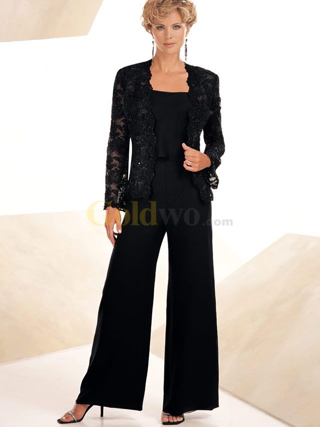 55e15e9fbeb Elegant Black Chiffon Lace Mother Of The Bride Pant Suits - US 223.99 -  Goldwo.com Can do any color