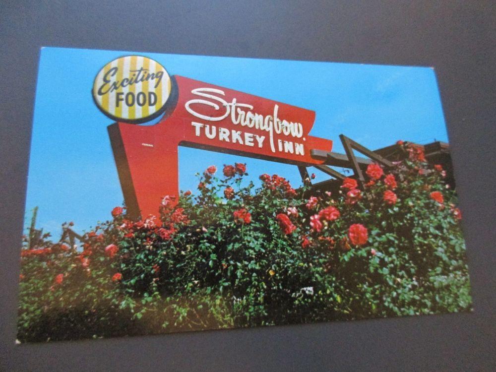 Vintage Postcard Strongbow Turkey Farm Inn Valparaisa American Rose Society