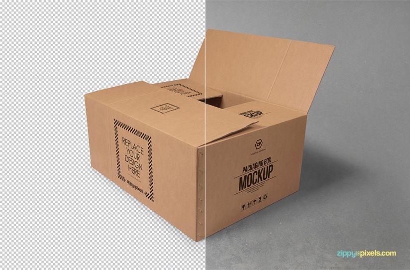 Download Free Cardboard Box Mockup Zippypixels Box Mockup Mockup Cardboard Box