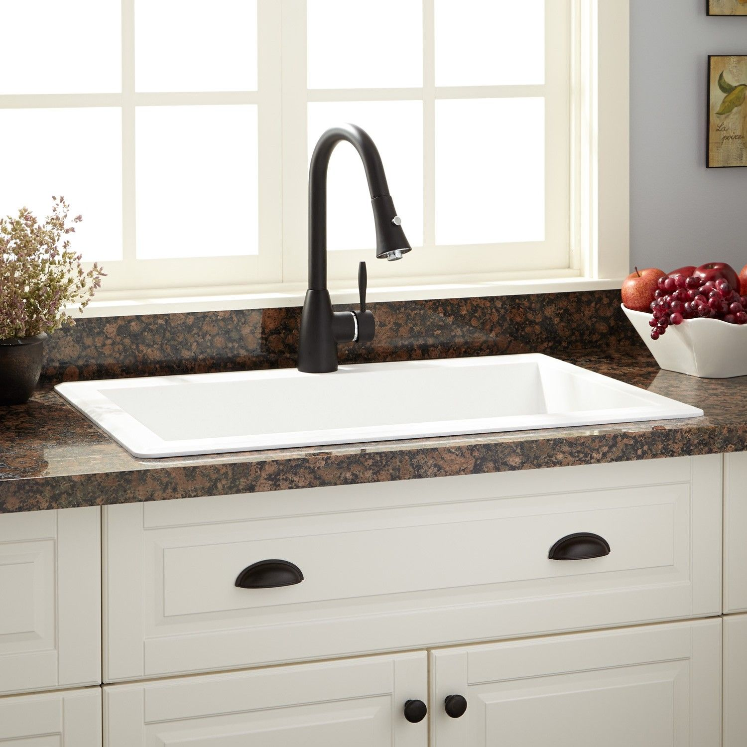 33 Ignacio Drop In Granite Composite Sink White Granite