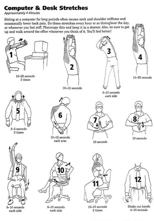 Here Are Some Easy Desk Exercises To Bust Your Stress A Chin Lifts Where You Rotate Your Shoulders Up Back Office Exercise Desk Workout Office Yoga
