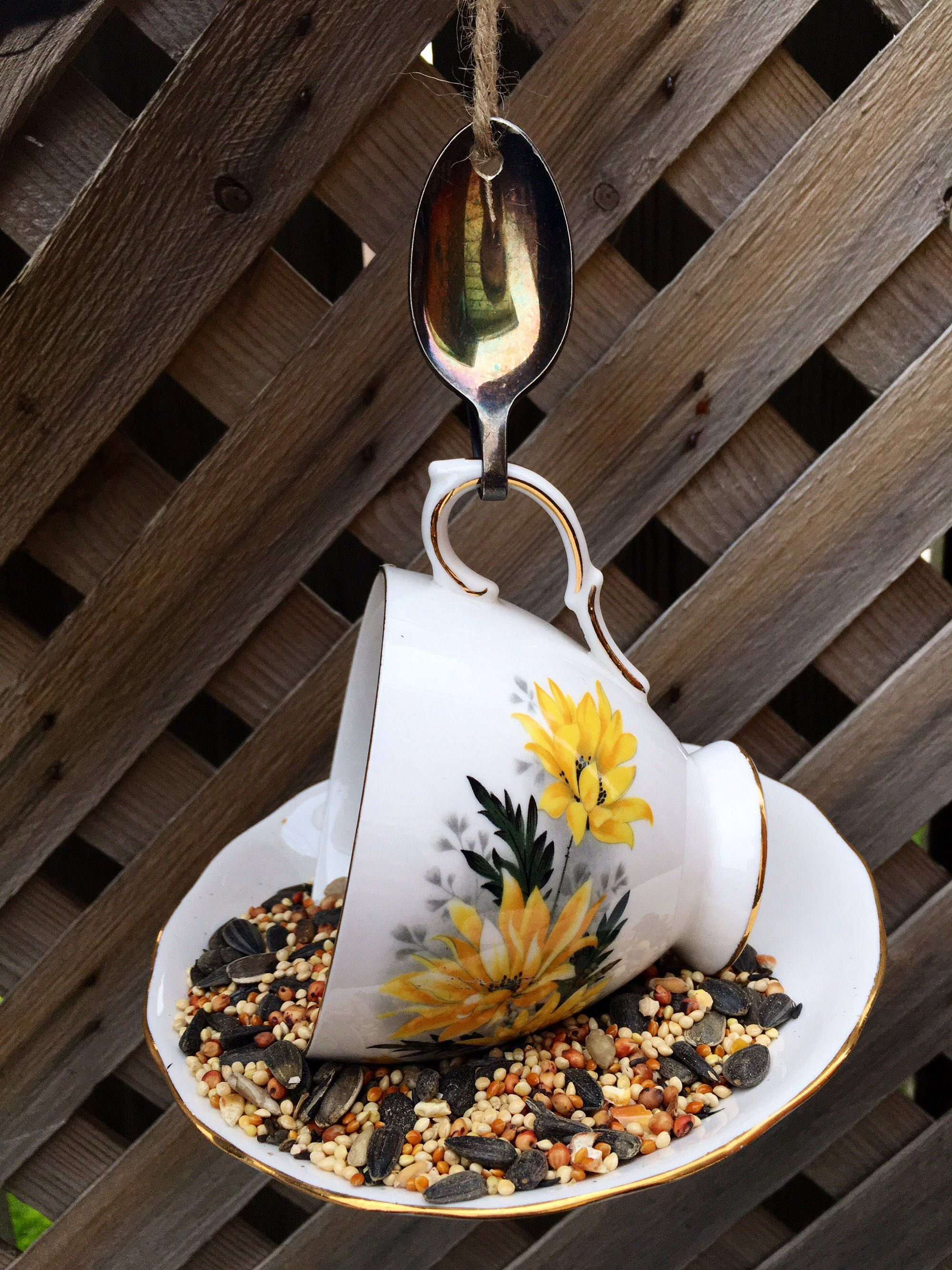 Royal Vale Yellow Floral Teacup Bird Feeder with Silver