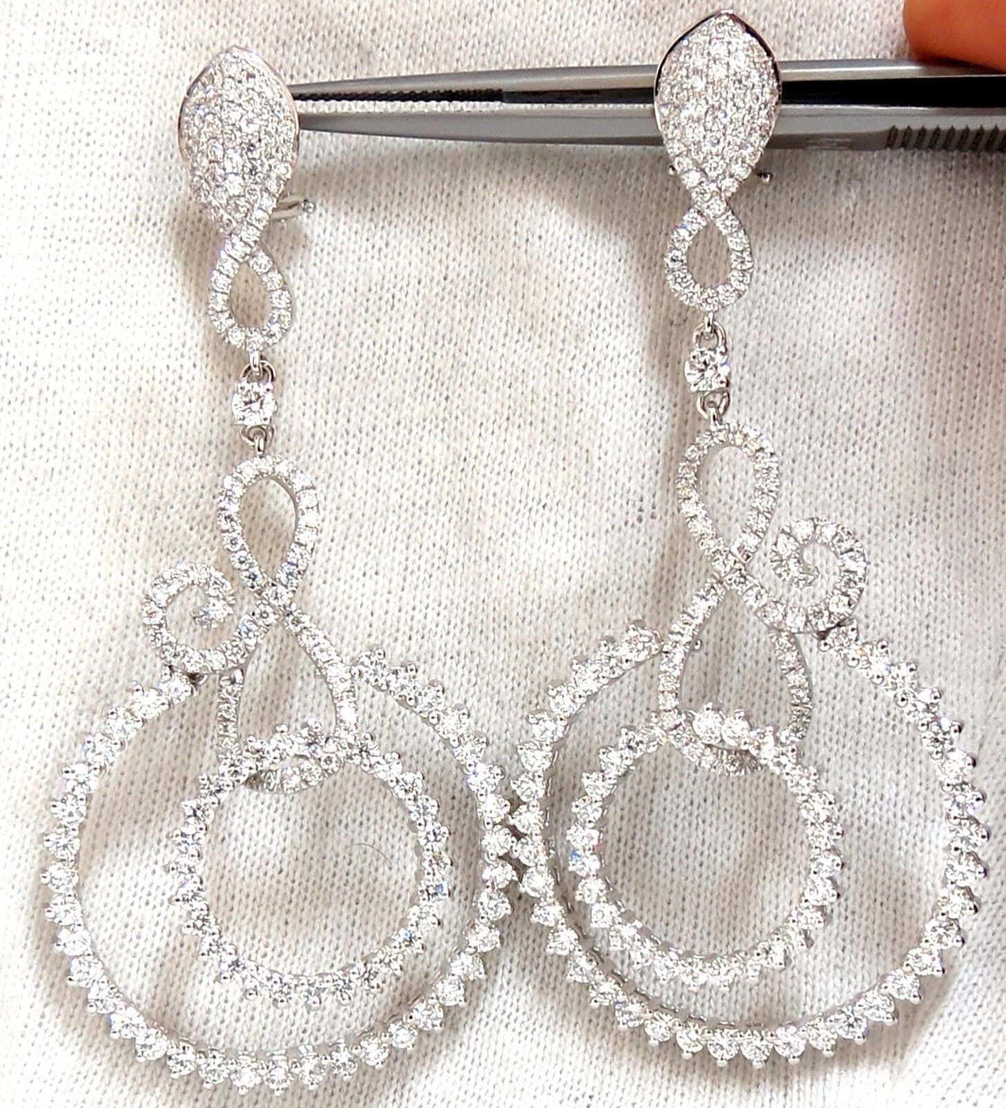 5.50ct NATURAL ROUND DIAMONDS SWIRL CIRCLE DANGLE EARRINGS 18KT 2.9 INCH
