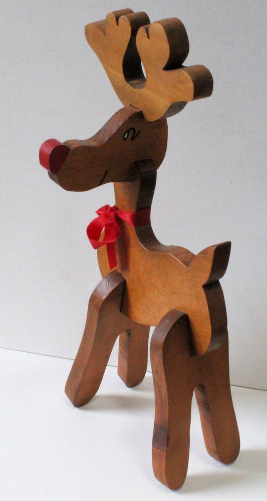 large 15 wooden vintage rudolph the red nosed reindeer christmas decoration - Wooden Deer Christmas Decorations