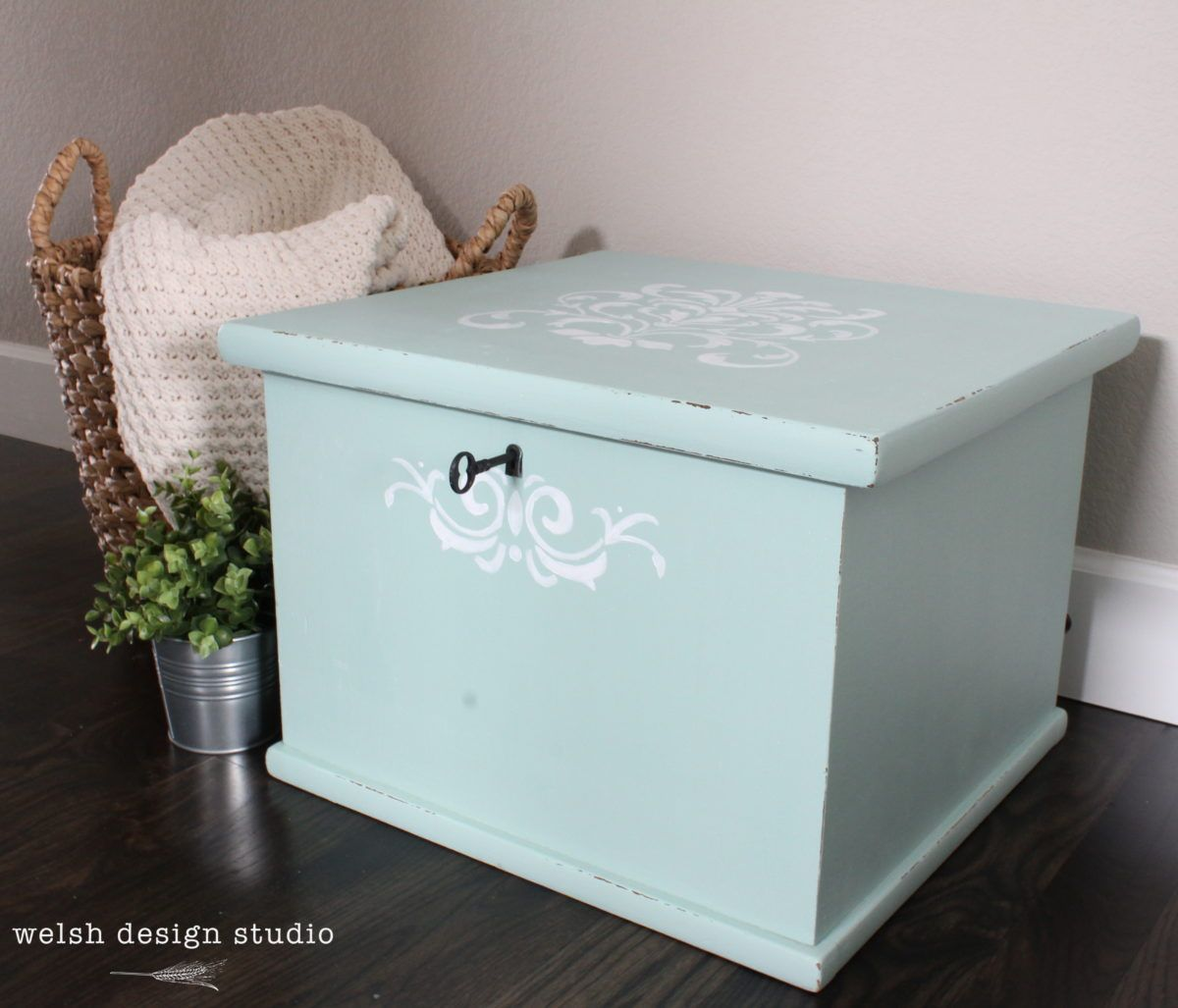 Storage cube receives a lovely milk paint makeover mustard seed