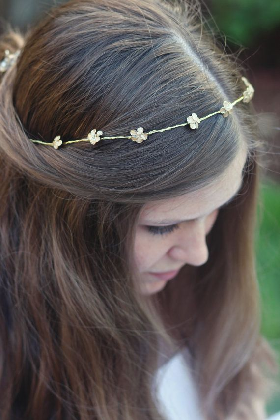 Hair & Head Jewelry Beaded Headdress Wedding Gold Metal With Grey Beads Soft Tiara Boho Headband