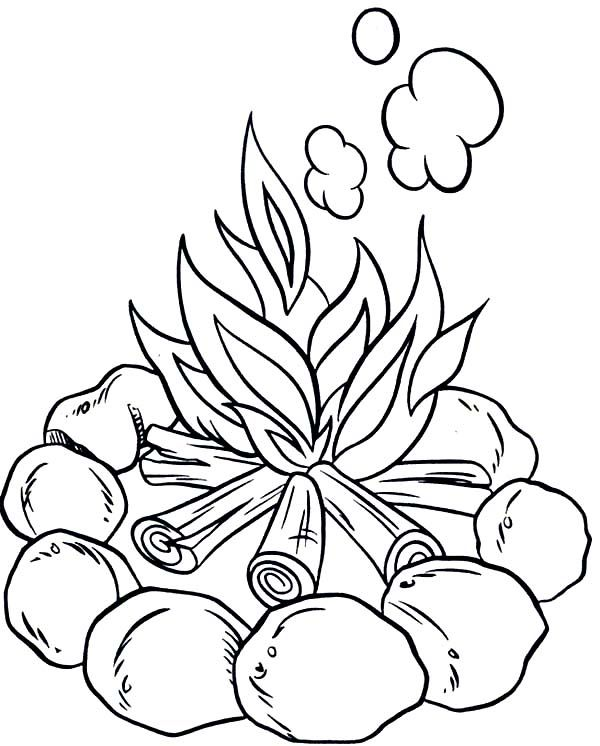 Camping Make Campfire When Camping Coloring Page Camping Coloring Pages Coloring Pages Cool Coloring Pages