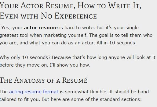 Your Actor Resume Format Even With No Experience