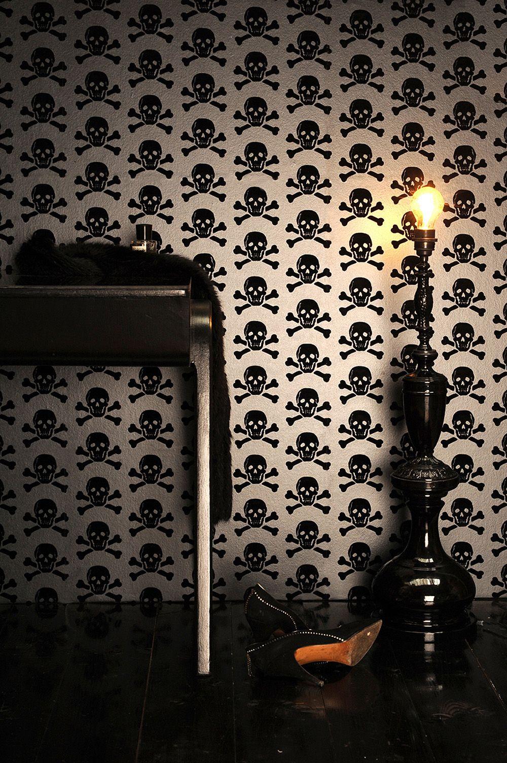 Skull Wallpaper For Bedroom Skulls Wallpaper Black On Gunmetal Otomb Sweet Tombo Pinterest
