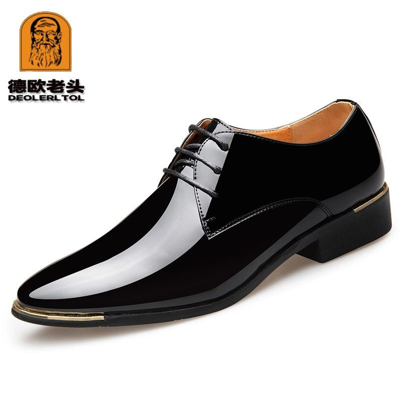 cad7f451d26 2018 Newly Men's Quality Patent Leather Shoes White Wedding Shoes Size  38-47 Black Leather Soft Man Dress Shoes