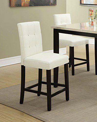 Set Of 2 Bar Stools Cream Faux Leather Parson Counter Height Chairs With  High Back And