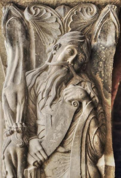 Profeta Jeremías - Abadía de Moissac, Francia #moissac #jeremiah #jeremías #sculpture #romanesque