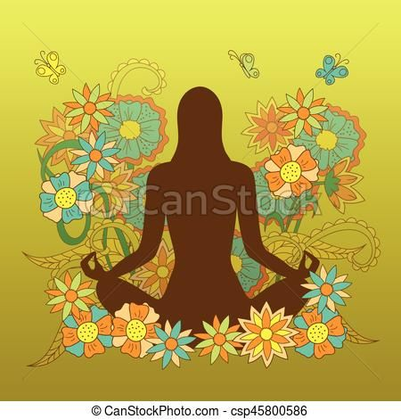 card with girl silhouette in yoga lotus pose on floral
