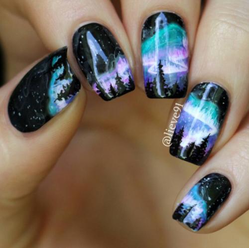 Piggieluv Galaxy Donuts Nail Art: Galaxy Nail Art, Galaxy Nails