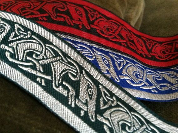 "10 yard lot - 1 1/4"" Blue Celtic Running Dog Jacquard Fabric ..."